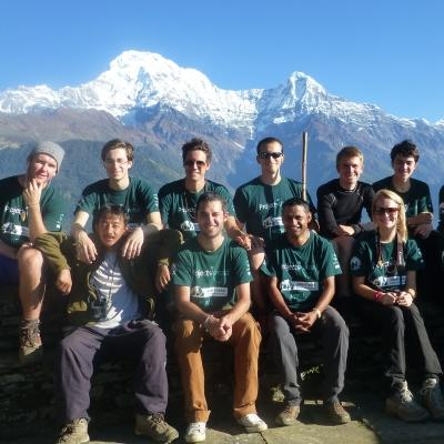 Projects Abroad Conservation volunteers working in the Himayalas take a break from activities in Ghandruk, Nepal.